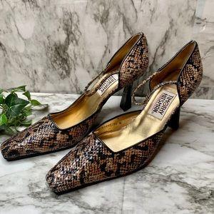 Timothy Hitsman Vintage Snake Print heels 10 M